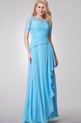 Short Sleeve Long Chiffon and Lace Dress