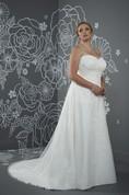 A-Line Floor-Length Sweetheart Sleeveless Satin Court Train Lace-Up Back Beading Dress