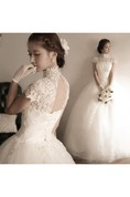 Elegant Tulle Lace Appliques 2016 Wedding Dress High Neck Ball Gown