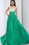 Spaghetti Straps Criss-cross Beading Long Prom Dress