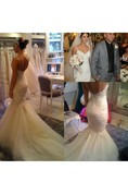 V Neck Spaghetti Straps Beaded Mermaid Lace Gown With Tulle Skirt