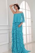 Unique Sexy Off-Shoulder Layered Chiffon Long Dress