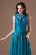 Dramatic Pleated Maxi Taffeta Sleeveless High Neck Special Occasion Dresses