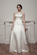 Sleeveless A-Line Satin Gown With Illusion Neckline