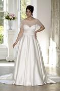 A-Line Floor-Length Sweetheart Satin Court Train Lace-Up Back Cape Dress