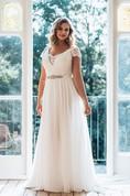 A-Line Floor-Length V-Neck Short Sleeve Chiffon Sweep Train Illusion Lace Dress
