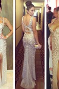Shiny Sweetheart Slit Front Sexy Prom Dress Mermaid Party Dress With Beadings