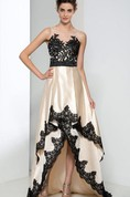 Sheer Neck Appliques Bowknot Asymmetry Prom Dress