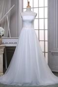 A-Line Long Off-The-Shoulder One-Shoulder Scoop Tulle Lace Satin Dress