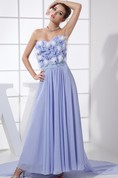 Sweetheart Chiffon Long Pleated Dress With Floral Top