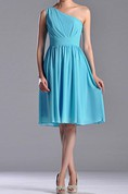 Knee-length One-shoulder A-line Pleated Chiffon Bridesmaid Dress