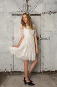 Half Sleeve A-Line Bateau Neck Lace Dress With Asymmetrical Hemline