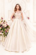 A-Line Floor-Length Scoop Short-Sleeve Low-V-Back Satin Dress With Lace
