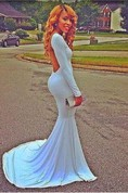 Sexy White Open Back Long Sleeve Prom Dress Long Evening Party Gown