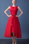 A-Line Beading Bowknot Asymmetry Tea-Length Prom Dress