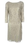3-4 Sleeved Lace Sheath Dress With Bateau Neck