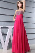 Chic Sweetheart Chiffon Beaded Dress With Ruched Waist