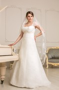 A-Line Floor-Length Square-Neck Cap-Sleeve Empire Corset-Back Lace Dress With Ruching And Beading
