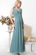 Graceful Cap-sleeved Empire Chiffon A-line Gown Lace Appliques