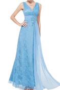 Pretty V-Neck Lace Floor-Length Prom Dress