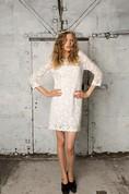 Sheath 3-4 Sleeve Short Lace Dress With Bateau Neckline