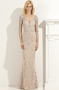 Sheath Floor-Length V-Neck Half Sleeve Lace Appliques Beading Illusion Dress