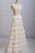 Layered Exquisite High-Neck Gown With Keyhole Backstyle