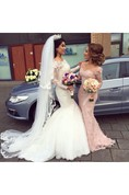 Long-sleeved Scalloped Neckline Mermaid Tulle Gown With Lace