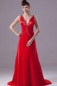 Deep-V-Neck Chiffon Floor-Length Sleeveless Ruching and Dress With Beading