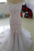 Mermaid Off-The-Shoulder Lace Dress With Organza Skirt