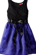 Sleeveless A-line Bowed Dress With Lace Bodice