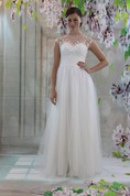 Cap Sleeve High Neck A-Line Lace and Tulle Dress With Illusion Back