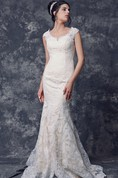Cap Sleeve Low V Neck Sheath Long Lace Dress With Illusion Back