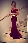 Elegant Off-the-shoulder Mermaid Appliques Evening Dress 2016 Sweep Train