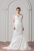 Sleeveless Ruched Column Jeweled Neckline and Gown With Lace