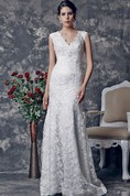 Ethereal Slim-line Lace and Charmeuse Wedding Gown