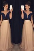 Elegant Off-the-shoulder A-line Evening Dress 2016 Beadings Lace Appliques