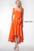 Changeable Sweetheart Ruffled High Low Chiffon Dress With Sash