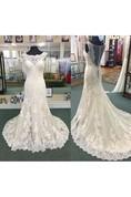 Vintage Bateau Neck Sheath Allover Lace Gown With Cap Sleeves