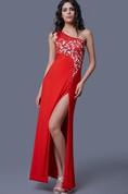 Impressive One-shoulder Long Jersey Dress with Side Slit and Sheer Jeweling