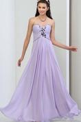 A-Line Sweetheart Pleats Beaded Long Prom Dress