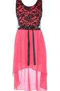 Sleeveless A-line High-low Dress With Lace Bodice