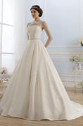 Ball Gown Long Bateau Sleeveless Keyhole Lace Dress With Waist Jewellery