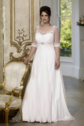 A-Line Floor-Length Scoop Neck Half Sleeve Empire Chiffon Sweep Train Low-V Back Appliques Dress