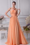 Sleeveless Chiffon A-Line Ruched Jeweled Top and Gown With Halter