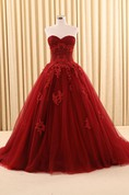 Ball Gown Floor-Length Sweetheart Appliques Sweep Train Zipper Corset Back Tulle Lace Dress