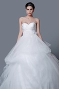 Glamorous Sweetheart Backless Satin and Tulle Ball Gown