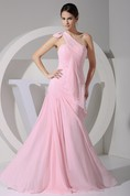 One-Shoulder Sheath Chiffon Epaulet and Dress With Ruching