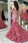 Glamorous Off-the-shoulder Lace Prom Dresses 2016 Mermaid Ruffles Party Gowns