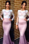 Sexy Long Sleeve Mermaid Prom Dress With Lace Appliques